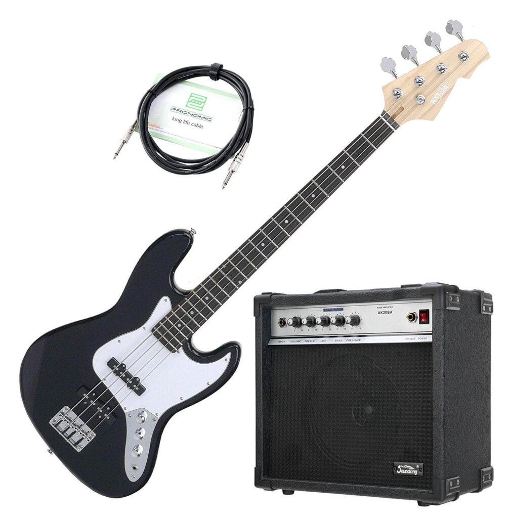 Rocktile Fatboy II Bass Starter Bundle Nero - Kit Basso elettrico nero con amplificatore e cavo